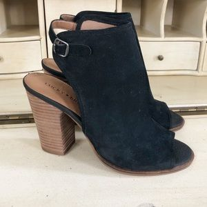 Lucky Brand Lisza Booties Black Suede Slingback